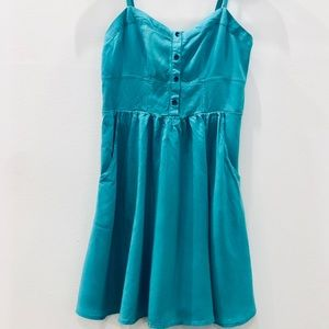 Express Teal Summer Dress with Pockets